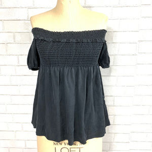 CHANEL Ruffled Off-Shoulder Strapless Silk Blouse